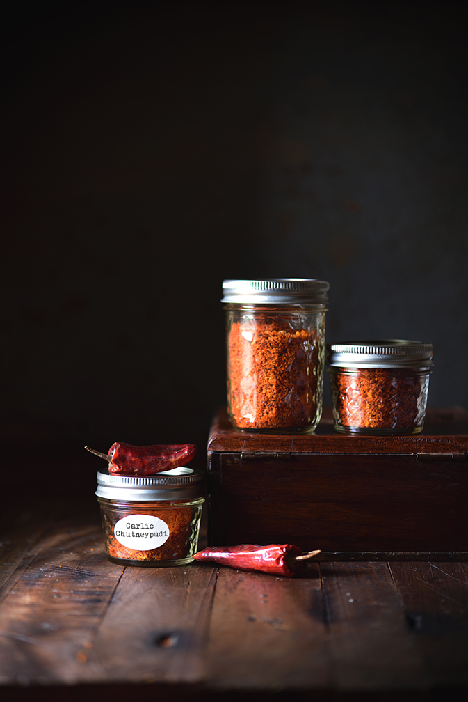 Garlic Chutney Powder is a coarse spicy powder which can be had with Indian breads and Steamed Rice which is absolutely finger licking. Food Photography and Foodstyling by MADaboutkitchen.