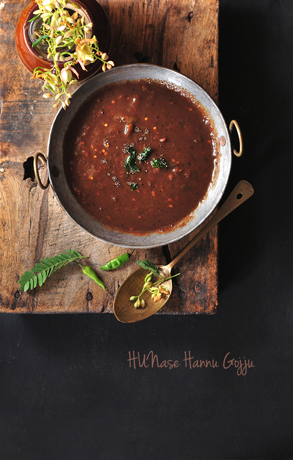 Hunase Gojju is Tangy, Spicy, Sweet Curry. Hunase Gojju is a speciality of Karnataka, one of the South- Indian states. Foodphotography and Foodstyling by Madhuri Aggarwal.