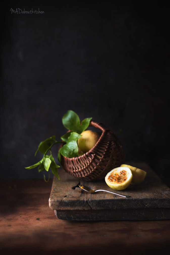 Coconut Panacotta with Passion fruit is the perfect combination of flavours of textures in a dessert. Silky Panacotta with Crunchy Passion Fruit. Food Styling and Photography by MADaboutkitchen.